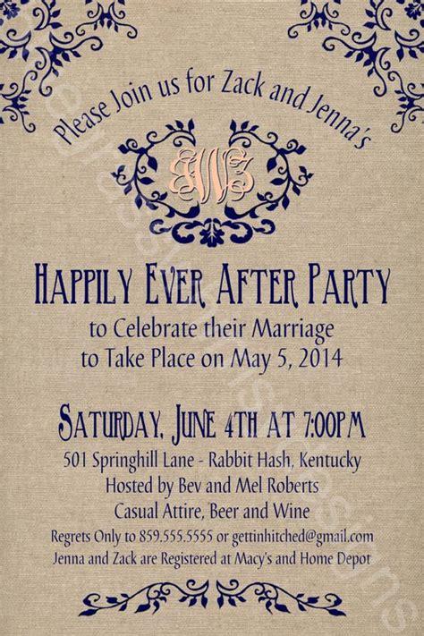 wedding invitations st catharines ontario rustic burlap linen post wedding or elopement celebration printable invitation receptions