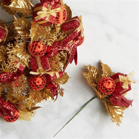 red gift and ornament christmas floral picks picks and