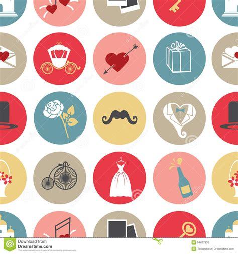 cute icon pattern cute flat wedding icons in modern seamless pattern stock