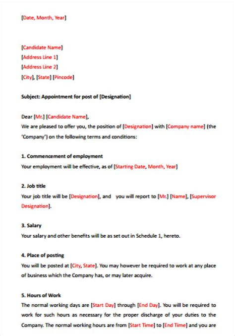 Offer Letters Of Employment Sles 42 Sle Offer Letter Template Free Premium Templates