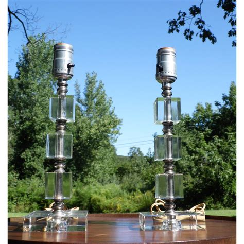 vintage pair mid century modern stacked lucite table lamps
