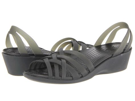 Huarache Mini Wedge crocs huarache mini wedge black black shipped free at zappos