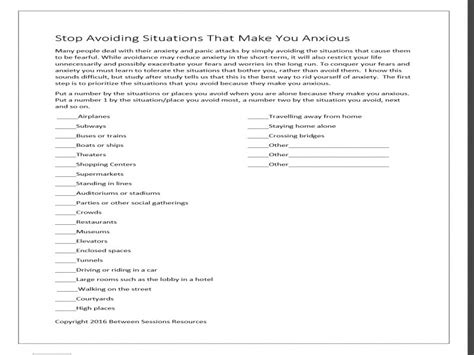 Therapy Worksheets For Adults by Between Sessions Anxiety Worksheets For Adults