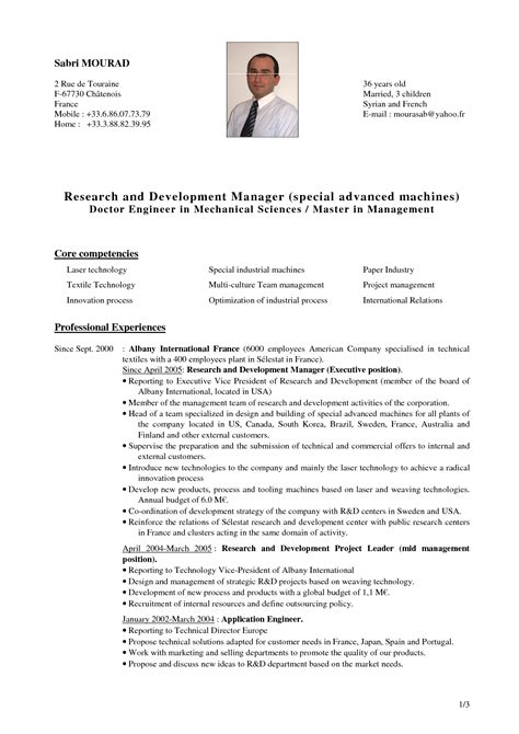 Research Resume Exles Exles Of Resumes Research Cv Template