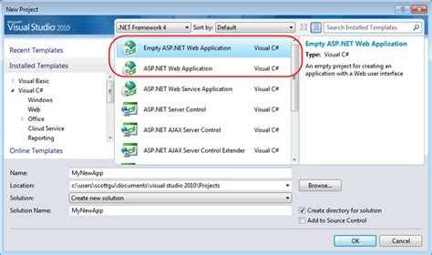 aspx net templates scottgu s starter project templates vs 2010 and