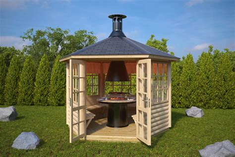 pavillon 6 eckig holz garden bbq hut seattle 6m 178 55mm 3 x 2 6 m