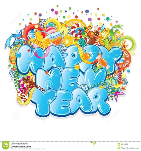 happy new year title vector design stock photography