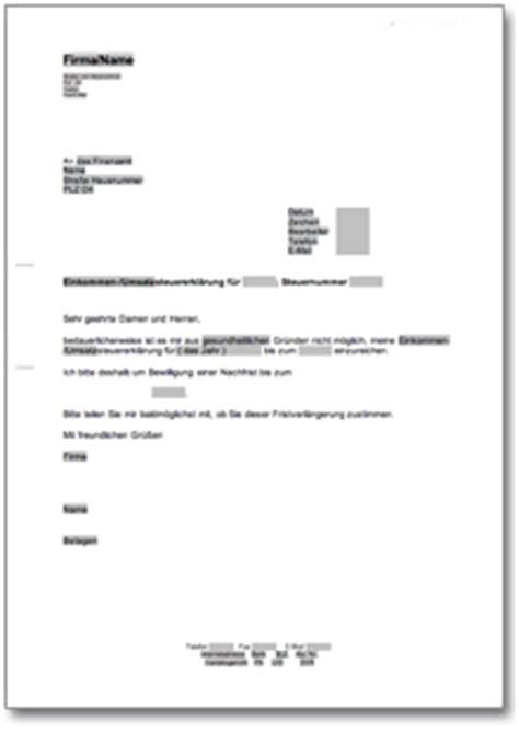 Musterbrief Finanzamt Antrag An Das Finanzamt Auf Eine Nachfrist F 252 R Die Steuererkl 228 Rung At Musterbrief
