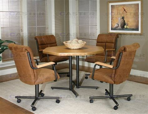 Caster Chair Company 5 Piece Caster Dining Set With Swivel Caster Chairs Dining Set