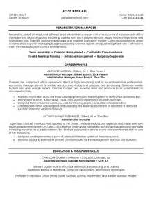 Administrative Manager Sle Resume by Exle Administration Manager Resume Free Sle