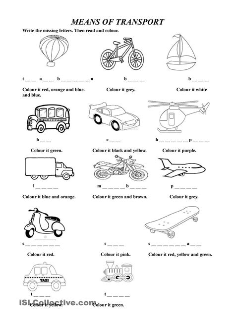 spanish for yellow spanish for yellow espanol vocabulario means of transport esl worksheets of the day pinterest