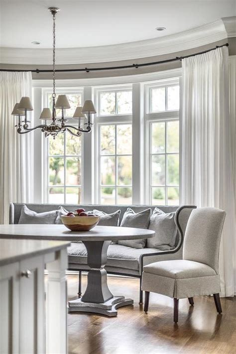 bay window settee curved gray dining settee in bay window transitional
