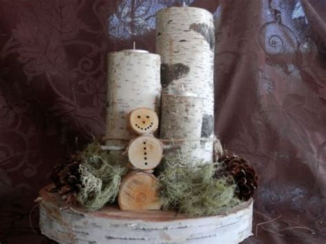 christmas birch log snowman tealight centerpiece wholesale