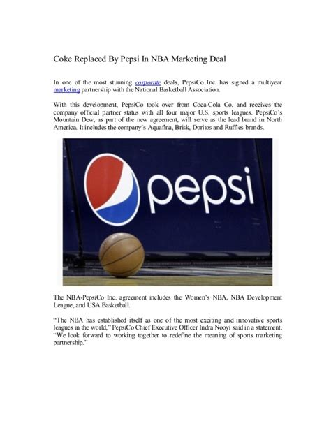 introduction of pepsi slideshare coke replaced by pepsi in nba marketing deal