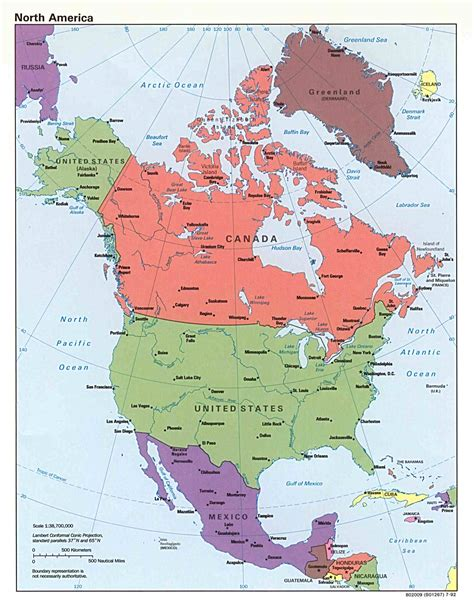 america s political north america map