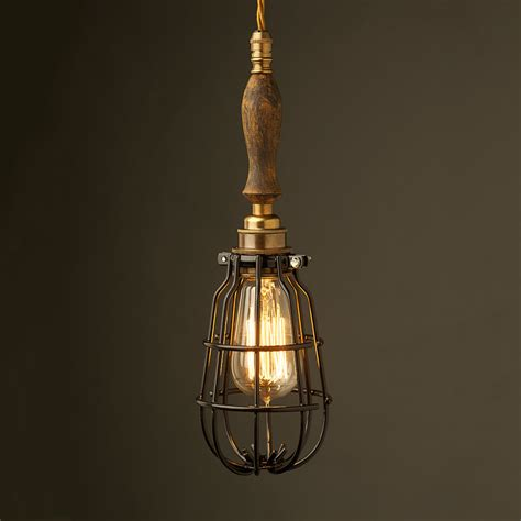 Brass Trouble Light Cage Pendant Wooden Handle Pendant Light Cage