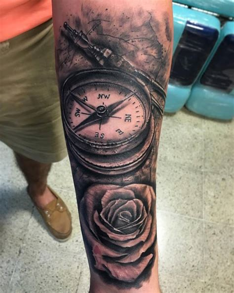nautical rose tattoo nautical compass and flower on forearm