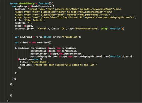 ionic parse tutorial angularjs ionic showaddpopup not saving and sending