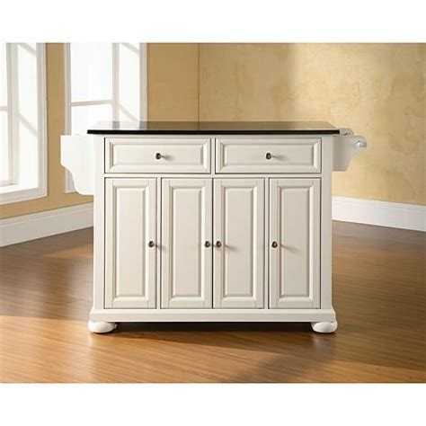 crosley alexandria solid black granite top kitchen island