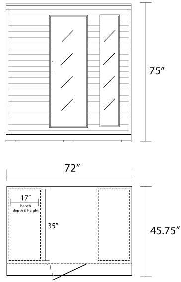 3 person dimensions monticello 4 person heatwave infrared sauna w carbon