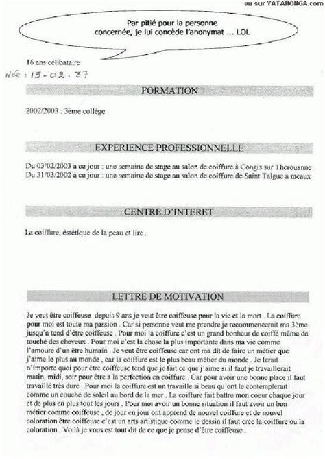Exemple De Lettre De Motivation Et Cv Pdf Resume Format Cv Lettre De Motivation Humour