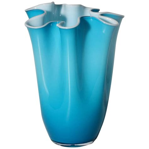 Turquoise Glass Vases by Turquoise Cased Murano Glass Vase With White Interior