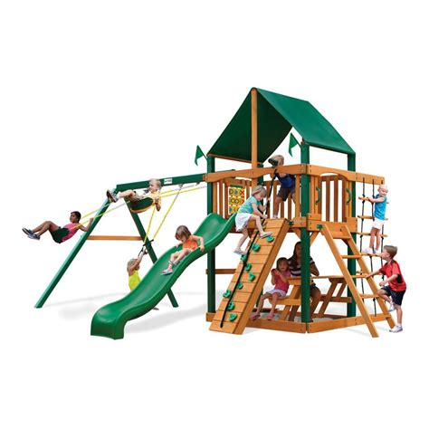 swing set lowes shop gorilla playsets chateau ii residential wood playset