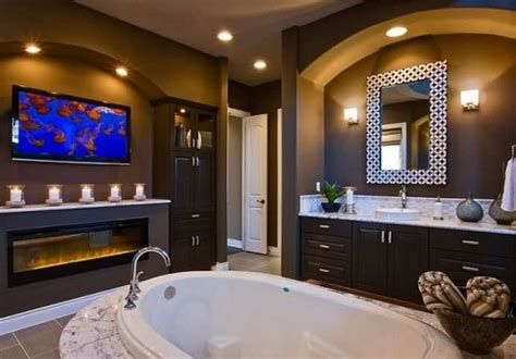 bathroom tv ideas decorating ideas luxury bathroom marble with fireplace and