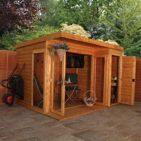 10x8 wooden shiplap t g summerhouse with side