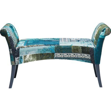Banc Tissu banc patchwork en tissu bleu hour kare design