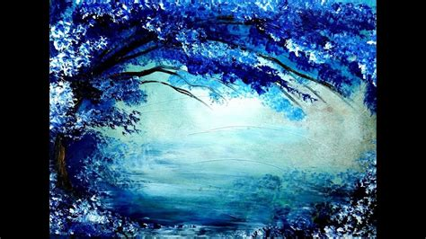 painting tree  blue  white acrylic colors