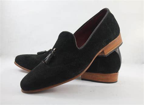 handmade mens black suede leather moccasins formal