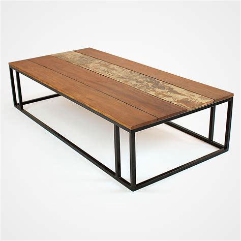 Reclaimed Wood Planks And Metal Base Coffee Table Rotsen Metal Base For Coffee Table