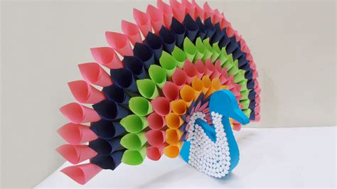 How To Make Peacock Feather With Paper - diy multicolored paper peacock craft ideas