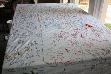 a thanksgiving family tradition table cloth