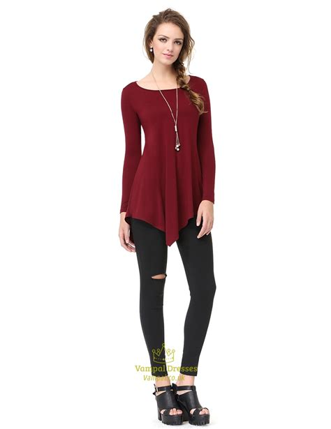 Classic Shirt Dress classic womens burgundy sleeve asymmetrical t shirt