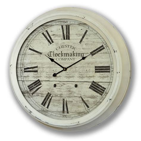 huge glass fronted metal wall clock 60cm shabby french