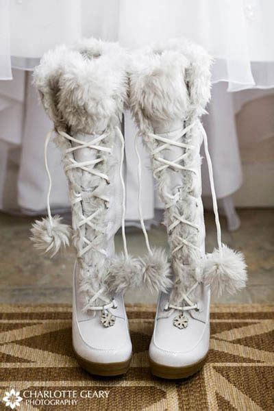 white winter boot kinda found the newly engaged