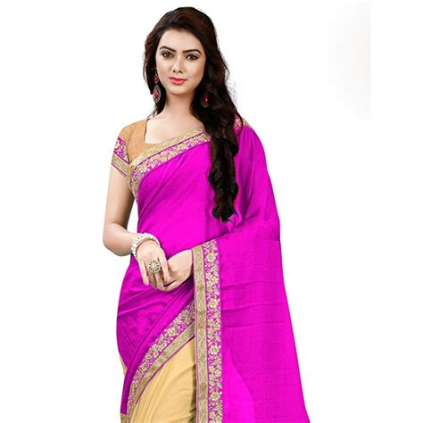 Anget Sari Jahe Inner Box pink color designer beautiful chiffon and net saree with blouse grabandpack shop now
