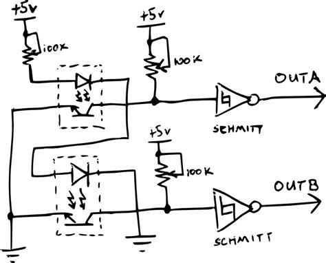 optical encoder circuit diagram diy quadrature encoder