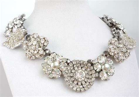 chunky wedding jewelry statement necklace rhinestones