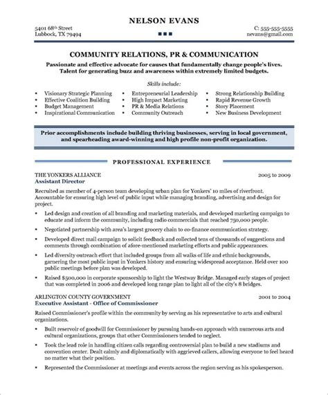 community relations manager page1 non profit resume sles free resume and