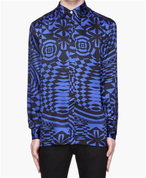crazy pattern button up shirts black blue hypnotic print dress shirt soletopia