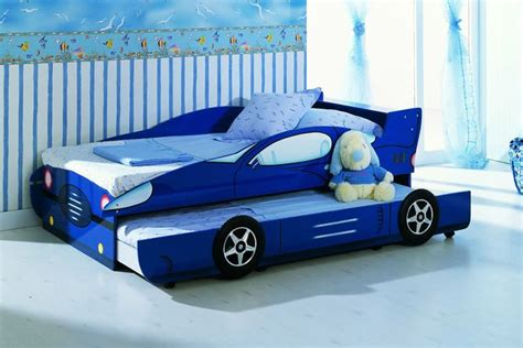 boys car bed kids blue single race car trundle bed racing boys car bed