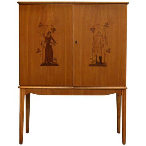 Bar Storage Cabinet Swedish Deco Intarsia Storage Bar Cabinet For Sale At 1stdibs