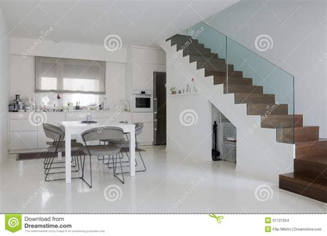 White Kitchen And Dining Room Stock Photo   Image: 51721254