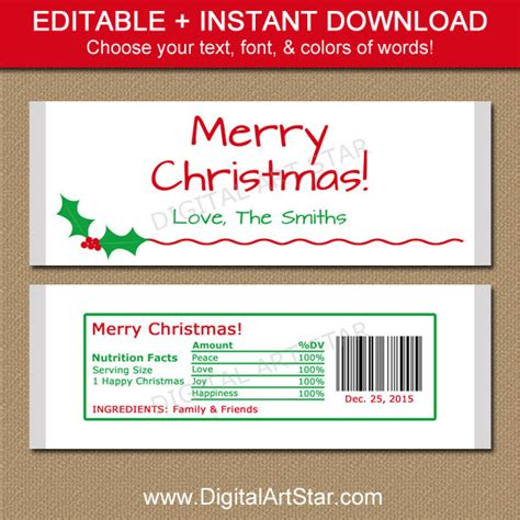 editable christmas candy bar wrappers printable by
