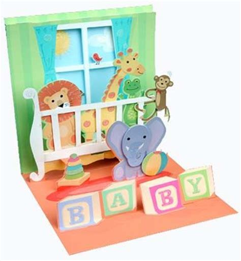 Pop Up Crib Card Template by Crib Animals Treasures Pop Up New Baby Card Cards Pop