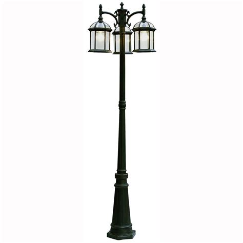 3 Light Outdoor Post L by Bel Air Lighting Atrium 3 Light Outdoor Black L Post