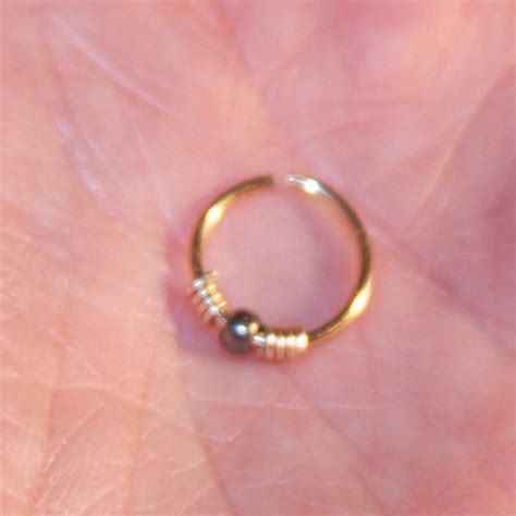 buy small nose ring hemitite beaded nose ring nose hoop